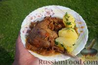 Фото к рецепту: Тушеный гусь в квашеной капусте