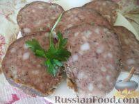 Фото к рецепту: Домашняя печеночная колбаса с салом и чесноком