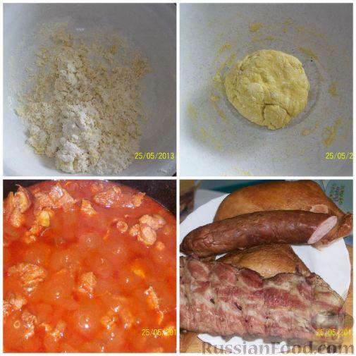Фото приготовления рецепта: Мясной салат с картофелем, помидорами, солёными огурцами и сыром - шаг №3