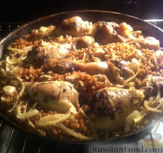 Приготовить гречку в духовке с куриным филе