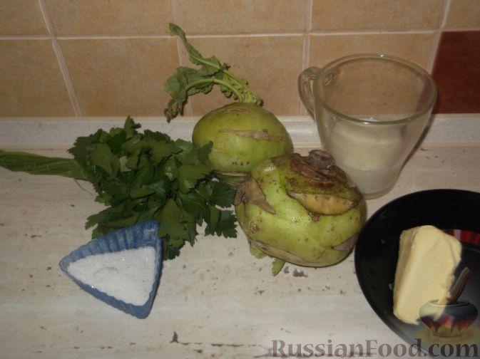 Фото приготовления рецепта: Тушеная капуста кольраби - шаг №1