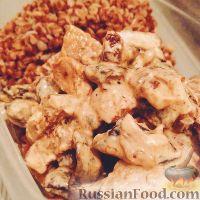 Фото к рецепту: Свинина в чесночном соусе с грибами