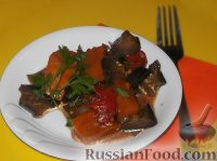 Фото к рецепту: Тыква с баклажанами и помидорами
