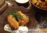 Фото к рецепту: Голубцы из савойской капусты (с куриным фаршем и грибами)