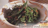 Фото к рецепту: Стручковая фасоль на пару с чесночно-имбирным соусом