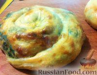 Фото к рецепту: Вертута с сыром, шпинатом и яйцами