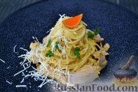 Фото к рецепту: Спагетти с цыплёнком в сливочно-мандариновом соусе