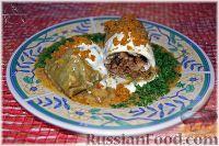 Фото к рецепту: Голубцы с мясом, перловкой и грибами