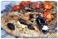 Фото к рецепту: Куриная грудка с черносливом и сыром, и спагетти с баклажанами