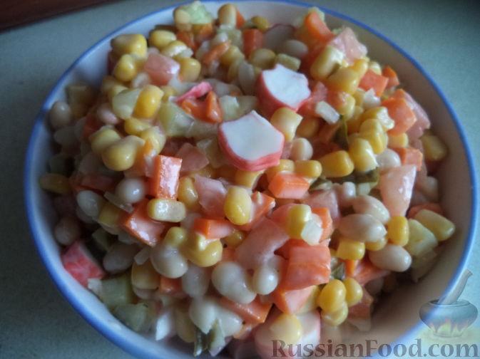 Салат с Ветчиной, Грибами, Фасолью и Кукурузой
