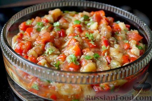 салат с запеченными баклажанами помидорами и перцем