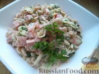 Фото к рецепту: Салат из ветчины с консервированной фасолью