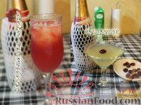 """Фото к рецепту: Новогодние коктейли """"Замороженная мимоза"""" и """"Флиртини"""""""