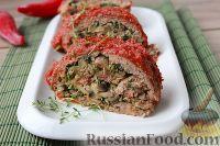 Фото к рецепту: Мясной рулет с грибами и шпинатом