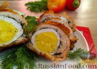 Фото к рецепту: Куриные рулетики с яйцом