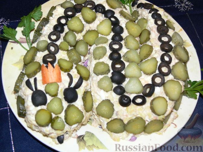 салаты змейка с колбасой рецепты с фото
