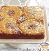 Фото к рецепту: Перевернутый пирог с ананасами