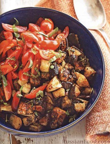баклажаны в духовке с помидорами и грибами