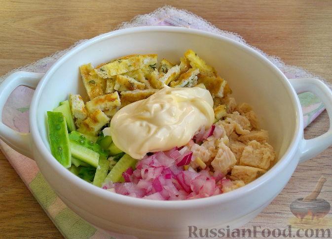 рецепт салата нежность с блинчиками