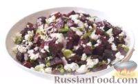 Фото к рецепту: Салат из печеной свеклы с зеленым луком и сыром