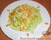 Фото к рецепту: Салат из пекинской капусты, с апельсином, яблоком, орехами