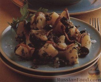 Рецепт Картофельный салат с оливковой заправкой и анчоусами