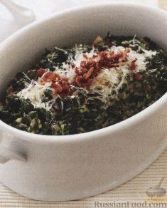 Рецепт Шпинат в молочном соусе с ветчиной и сыром