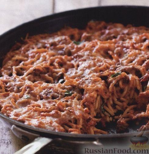 Рецепт Спагетти с фаршем, приготовленные на сковороде