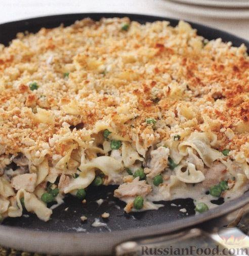 Рецепт Макароны, запеченные с грибами, тунцом и сыром на сковороде