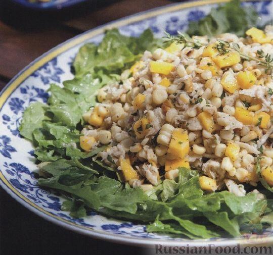 Рецепт Кукурузный салат с крабовым мясом и манго