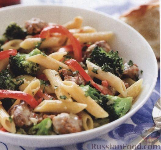 Рецепт Макароны с брокколи, фаршем и перцем