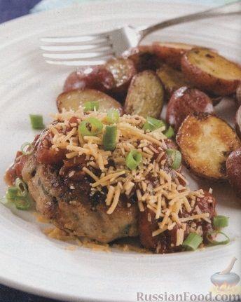Рецепт Куриные котлеты с молодым картофелем под соусом барбекю