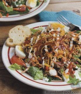 Рецепт Овощной салат со свининой и сыром