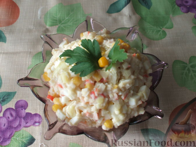 Рецепт Салатик из крабовых палочек