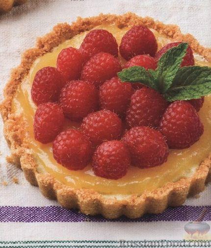 Рецепт Песочные пирожные с лимонным кердом и малиной