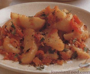 Рецепт Картофель, печенный в духовке с луком и помидорами