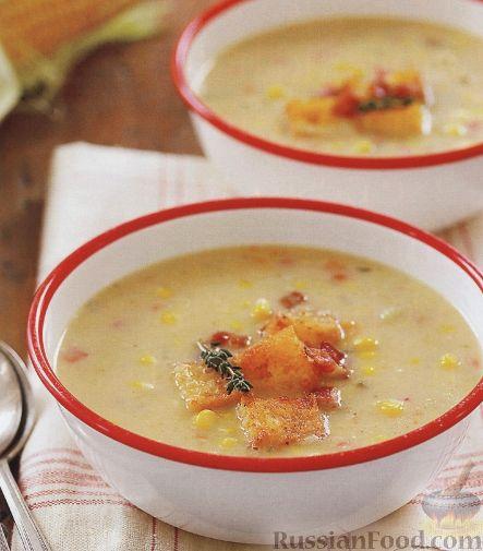 Рецепт Кукурузный суп с сухариками