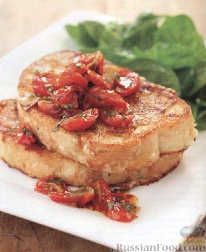 Рецепт Молочно-сырные гренки с жареными помидорами