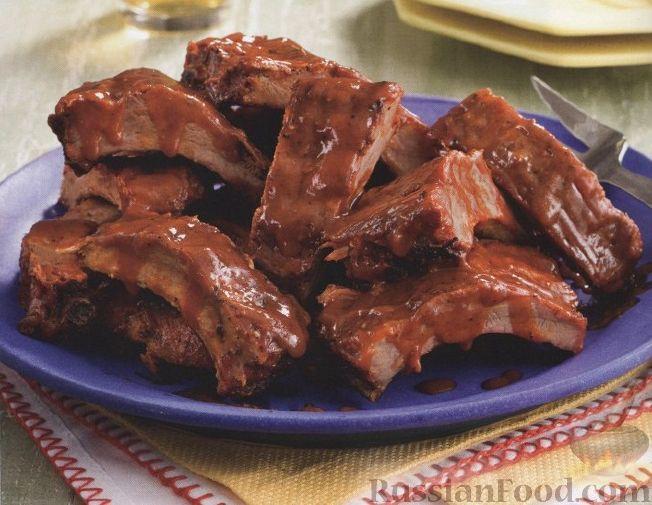 ребрышки свиные в духовке в соусе барбекю