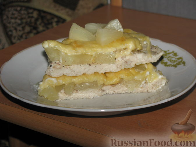 Рецепт Курица с ананасами под сыром