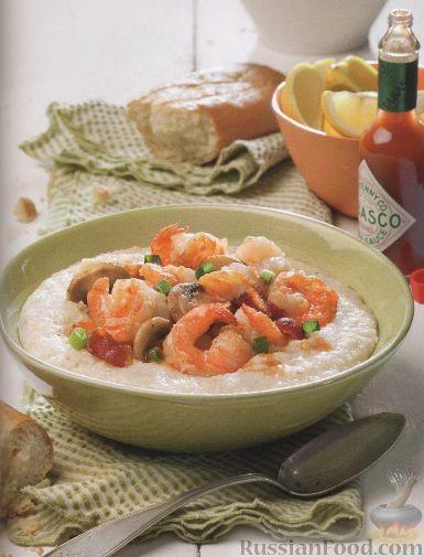 Рецепт Рисовая сырная каша с соусом из креветок и грибов