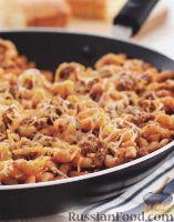 Фото к рецепту: Макароны с молотым мясом, приготовленные в сковороде