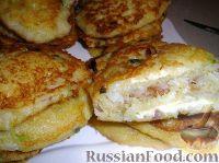 Фото к рецепту: Драники рисовые с плавленым сыром