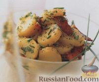 Фото к рецепту: Картофель вареный с шалотом и беконом