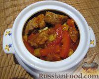 Фото к рецепту: Свинина с овощами в горшочке