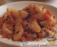 Фото к рецепту: Картофель, печенный в духовке с луком и помидорами