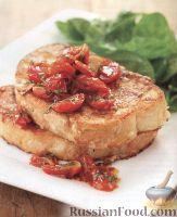 Фото к рецепту: Молочно-сырные гренки с жареными помидорами