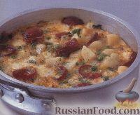 Фото к рецепту: Тортилья с картофелем, салями, горошком и сыром