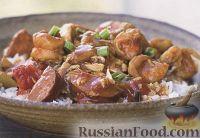 Фото к рецепту: Соус-рагу с креветками и копчеными колбасками