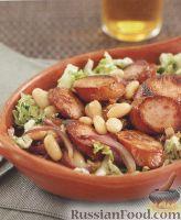 Фото к рецепту: Тёплый салат с домашней колбасой